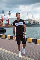 Мужской летний черный спортивный костюм трикотажный футболка с шортами реплика BMW с хлопка принтом46 48 50 52