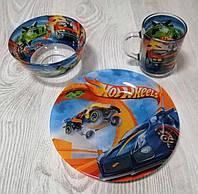 """Набір дитячого посуду 3-х предметний """"Hot Wheels"""", фото 1"""