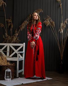 Довга сукня в українському стилі Петреківська червона-чорна