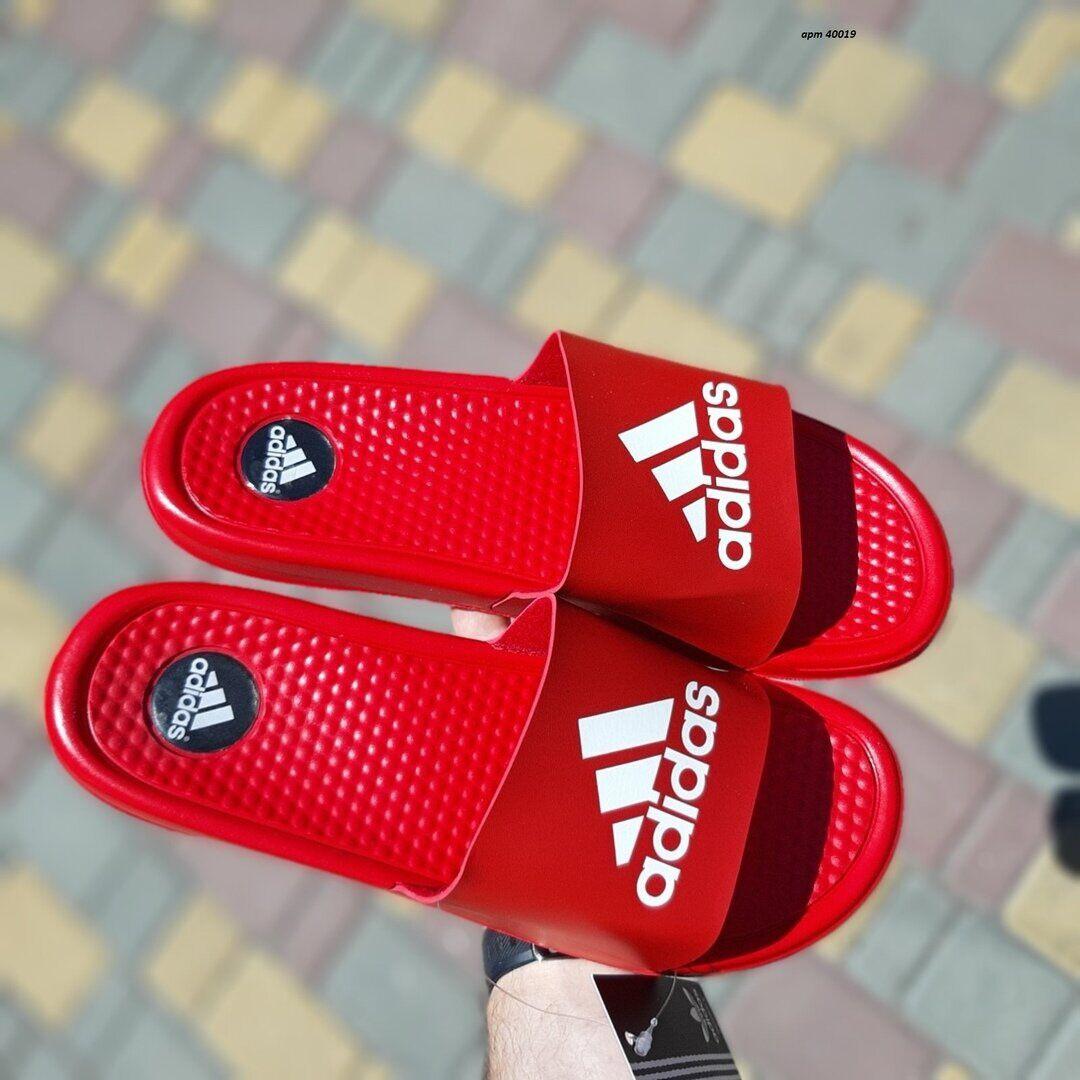 Мужские кожаные шлепанцы Adidas красные массажные