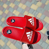 Мужские кожаные шлепанцы Adidas красные массажные, фото 1