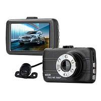 Автомобильный видеорегистратор DVR T660+ Full HD на 2 камеры мощный угол обзора 170 датчик удара
