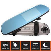 """Видеорегистратор зеркало Anytek G77 Full HD 1080P на 2 камеры 4.5"""" датчик движения угол обзора 150"""
