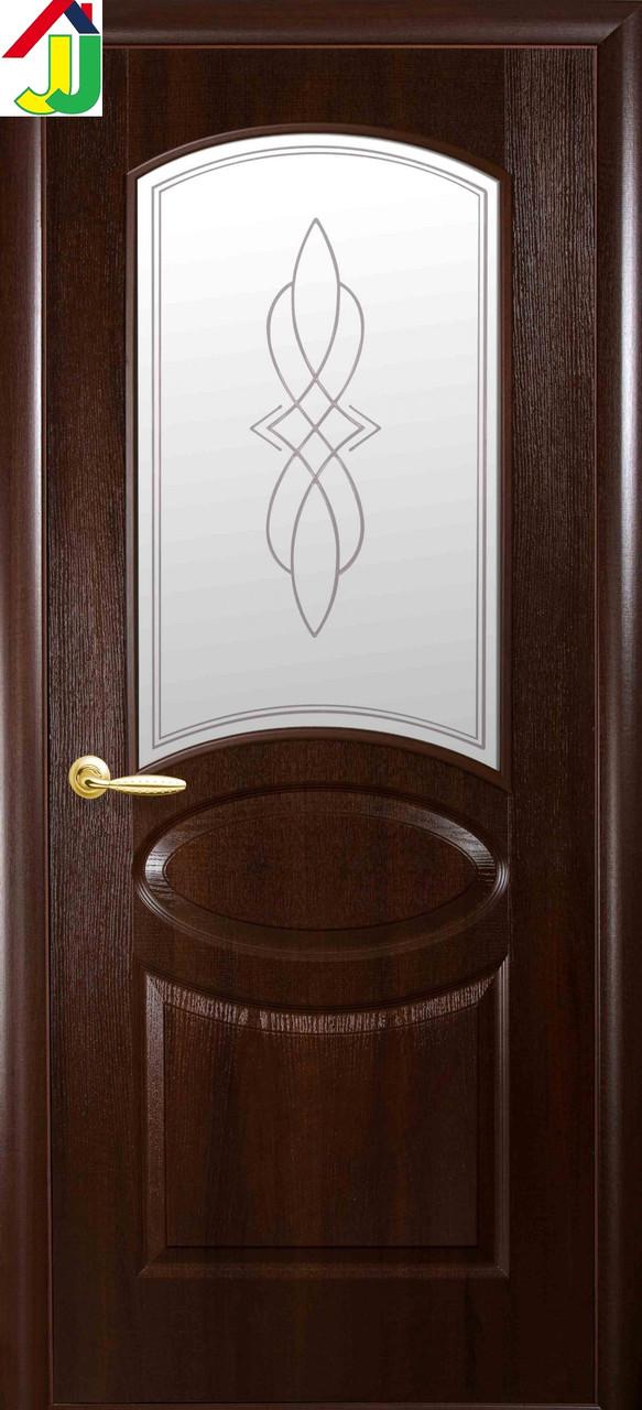 Дверь межкомнатная Новый стиль Овал Р1 ПВХ Delux Фортис Каштан стекло с рисунком