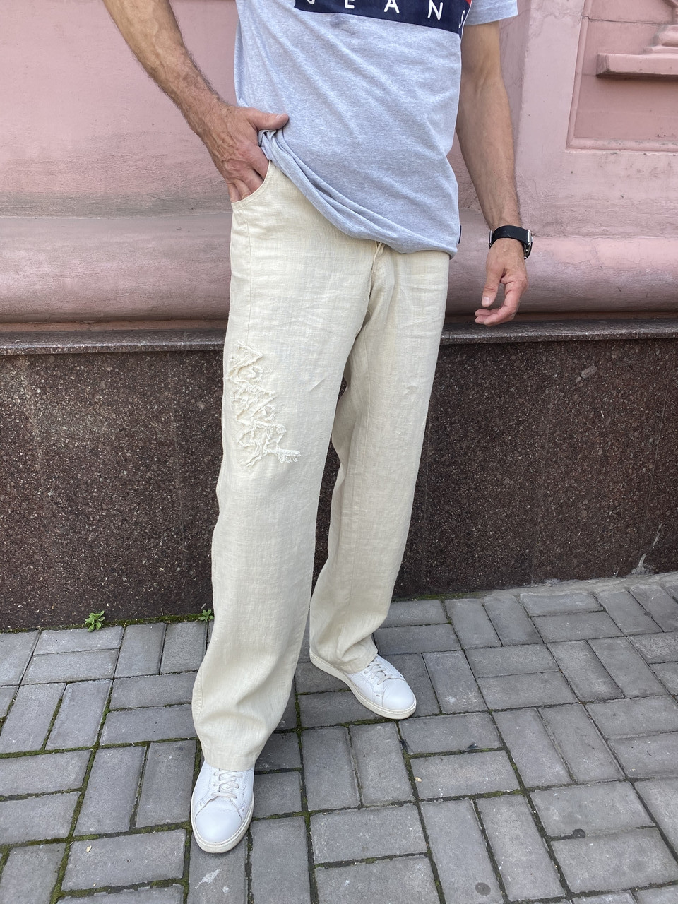 Джинсы  Doramafi мужские лен лето беж с аппликацией оригинал