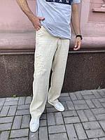 Джинсы  Doramafi мужские лен лето беж с аппликацией оригинал, фото 1