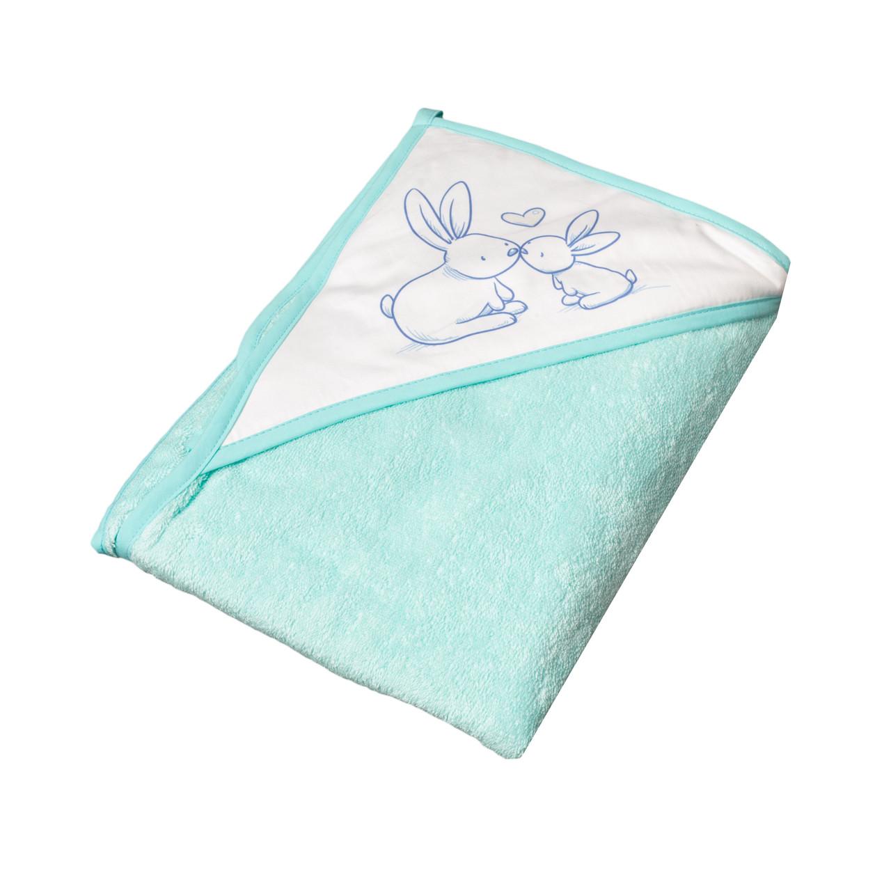 Полотенце с уголком Tega Тега Кролики 100*100, blue
