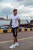 Мужской летний черный белый спортивный костюм трикотажный футболка с шортами хлопка принтом 46 48 50 52