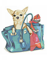 "Картина по номерам, Rosa ""Собачка в женской сумочке"" 35х45см N00013224"
