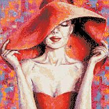 """Алмазная вышивка, """"Леди в красной шляпе"""" 40*40см AM1002"""