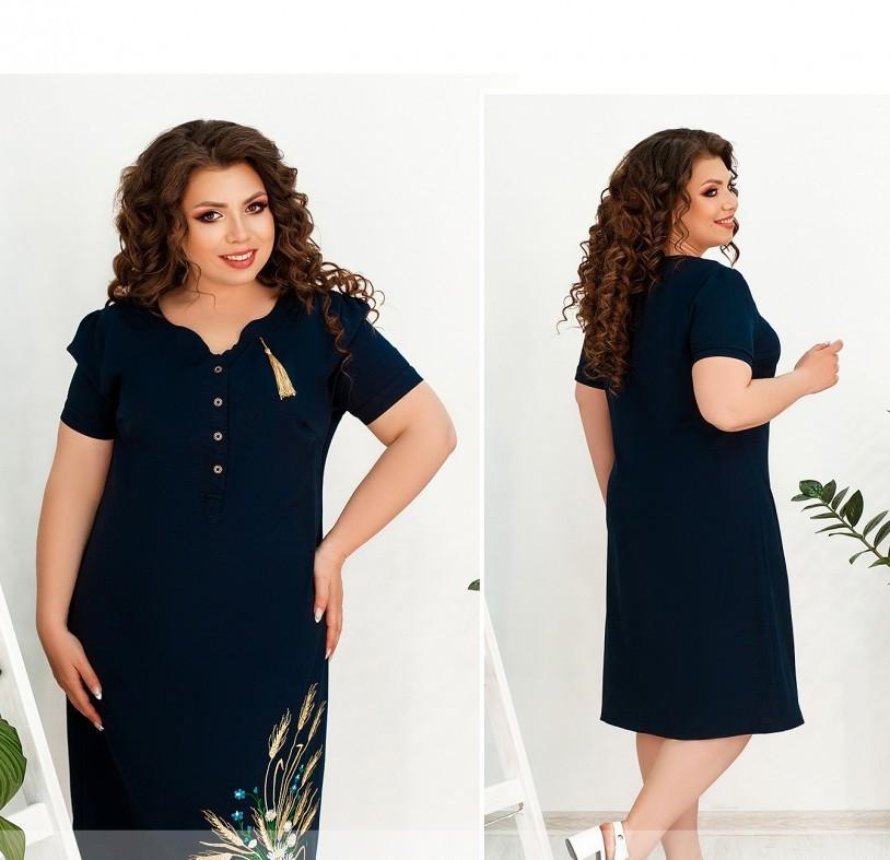 / Розмір 52,54,56,58 / Жіноче елегантне плаття великого розміру з вишивкою / 000100-синій