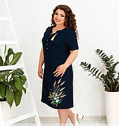 / Розмір 52,54,56,58 / Жіноче елегантне плаття великого розміру з вишивкою / 000100-синій, фото 4