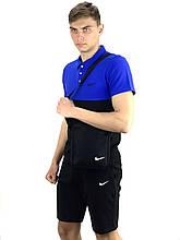 Мужской летний комплект в стиле Nike + барсетка в подарок (шорты и поло), Реплика ААА