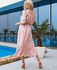 Женское платье миди в цветочный принт Пудровый, фото 2