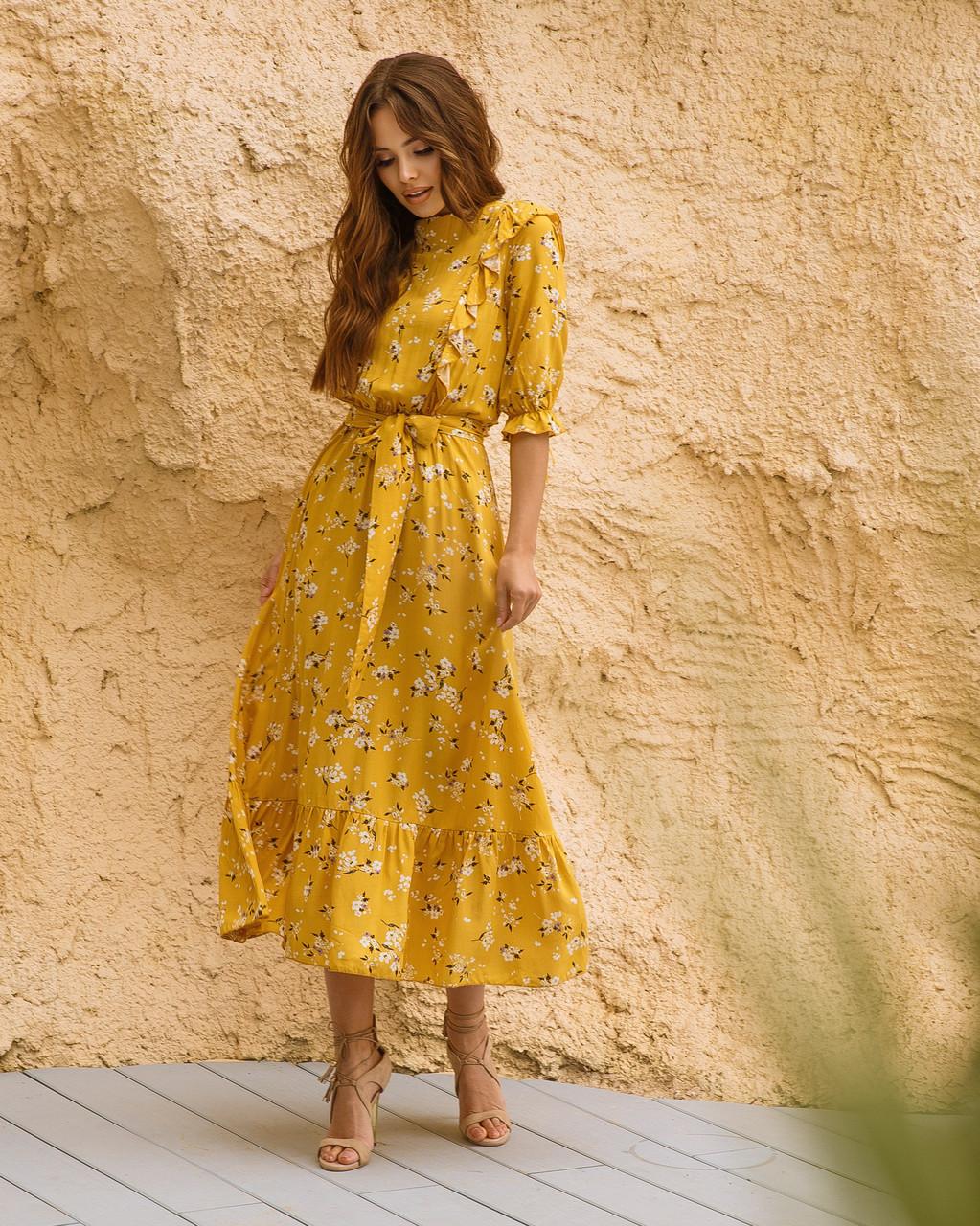 Женское платье миди в цветочный принт Желтый