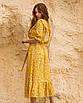 Женское платье миди в цветочный принт Желтый, фото 2