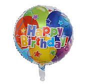 """Фольгированные шары с рисунком 18"""" """"Happy Birthday шарики""""   Китай"""