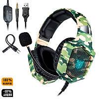 Игровые наушники ONIKUMA K8 Camouflage Green с микрофоном и LED RGB подсветкой геймерские ігрові навушники
