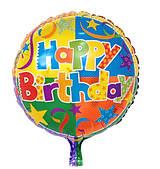 """Фольговані кульки з малюнком 18"""" """"Happy Birthday арлекін"""" Китай"""