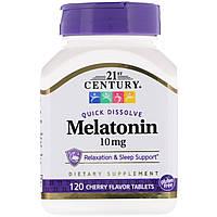 ОРИГІНАЛ!21st Century, Мелатонін , вишневий смак,10 мг 120 таблеток виробництва США