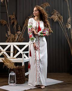 Довга сукня в українському стилі Петреківська біла-кольорова