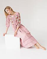 Женское льняное платье MEREZHKA с вышивкой Роксолана пудра размер 42