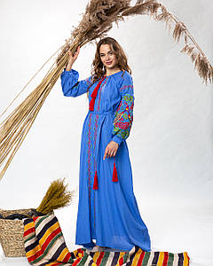 Довга сукня в українському стилі Петреківська блакитна-кольорова