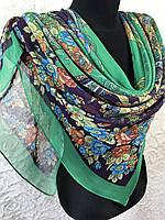 Женский легкий зеленый платок в цветочки размером 110х110 (цв.5), фото 1