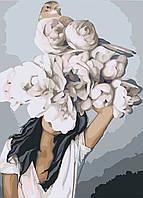 Картина по номерам Дівчина з піонами 40х50см абстракция, цветы