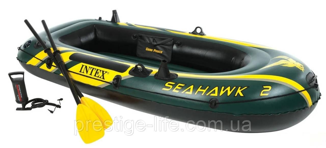 Двомісна Intex надувний човен 68347 Seahawk 2 Set з веслами і насосом (236*114*41 см)