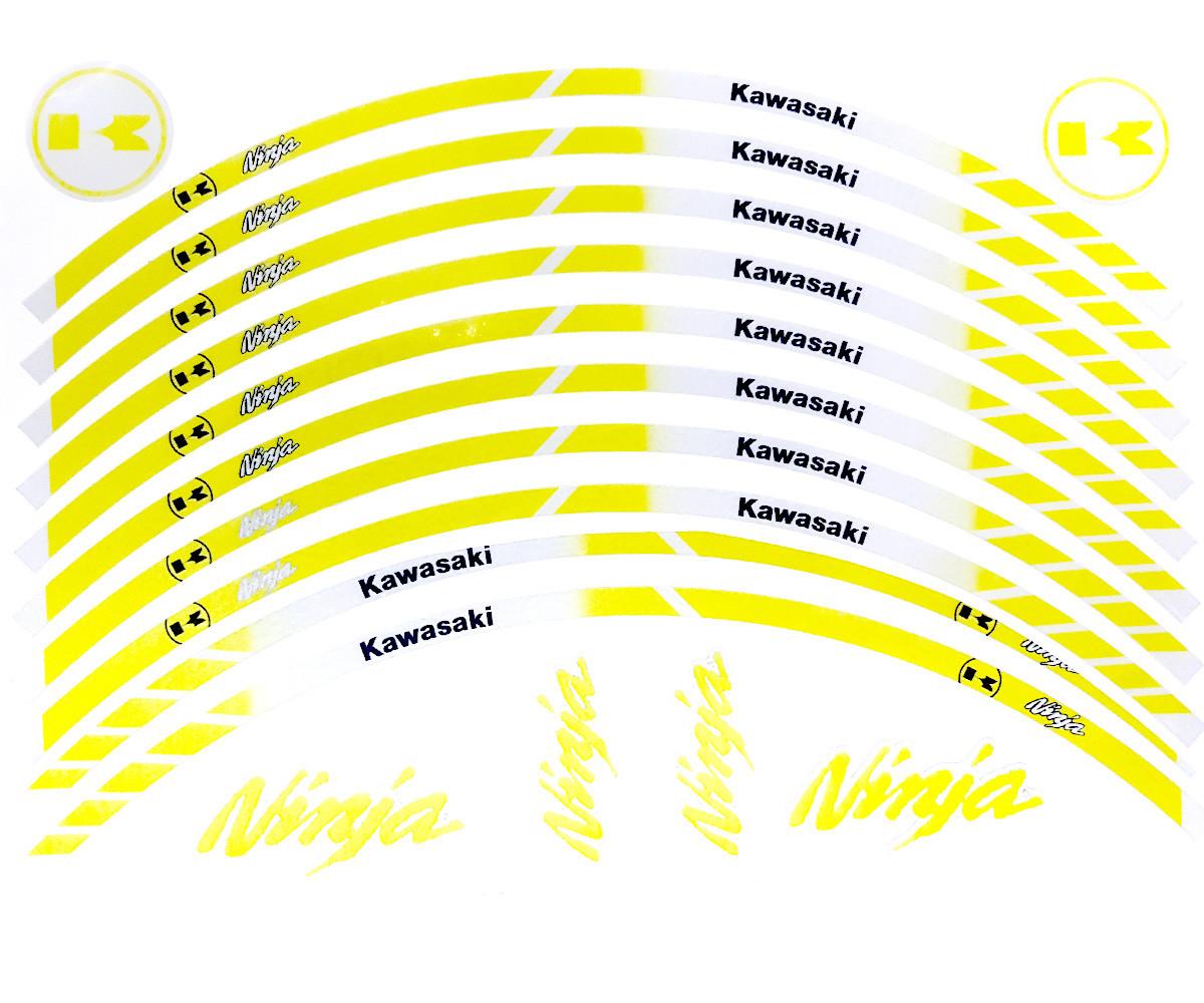 Наклейка на обід колеса Kawasaki Ninja Yellow ОТРАЖАЙКА