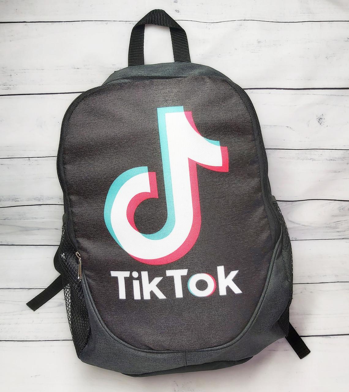 Рюкзак молодіжний TikTok (ТикТок), колір чорний з сірим ( код: IBR112BO )