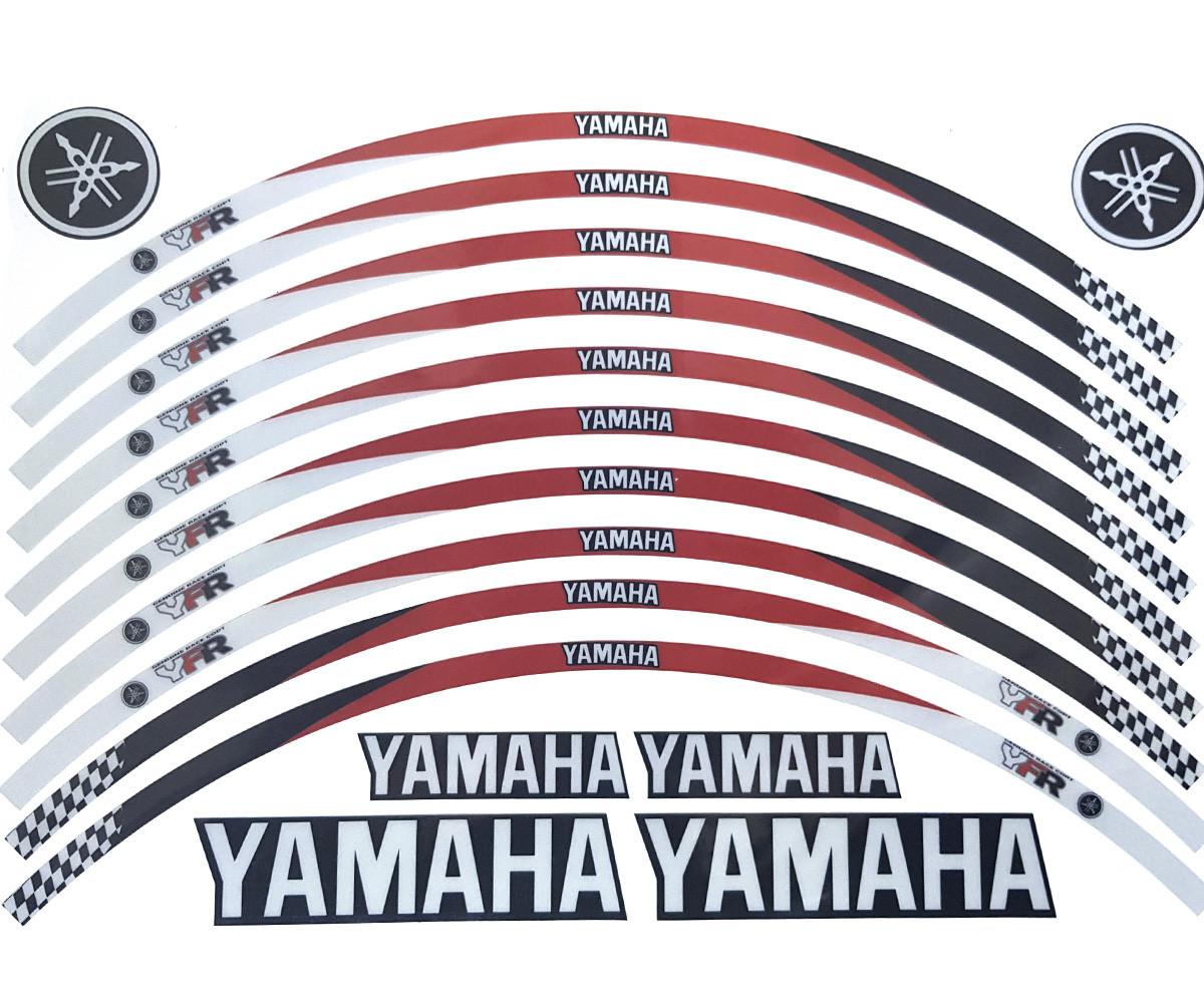 Наклейка на обод колеса Yamaha Red Black ОТРАЖАЙКА