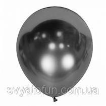 """Латексный воздушный шарик Хром Mirror Space Grey 12"""" 1шт Kalisan"""