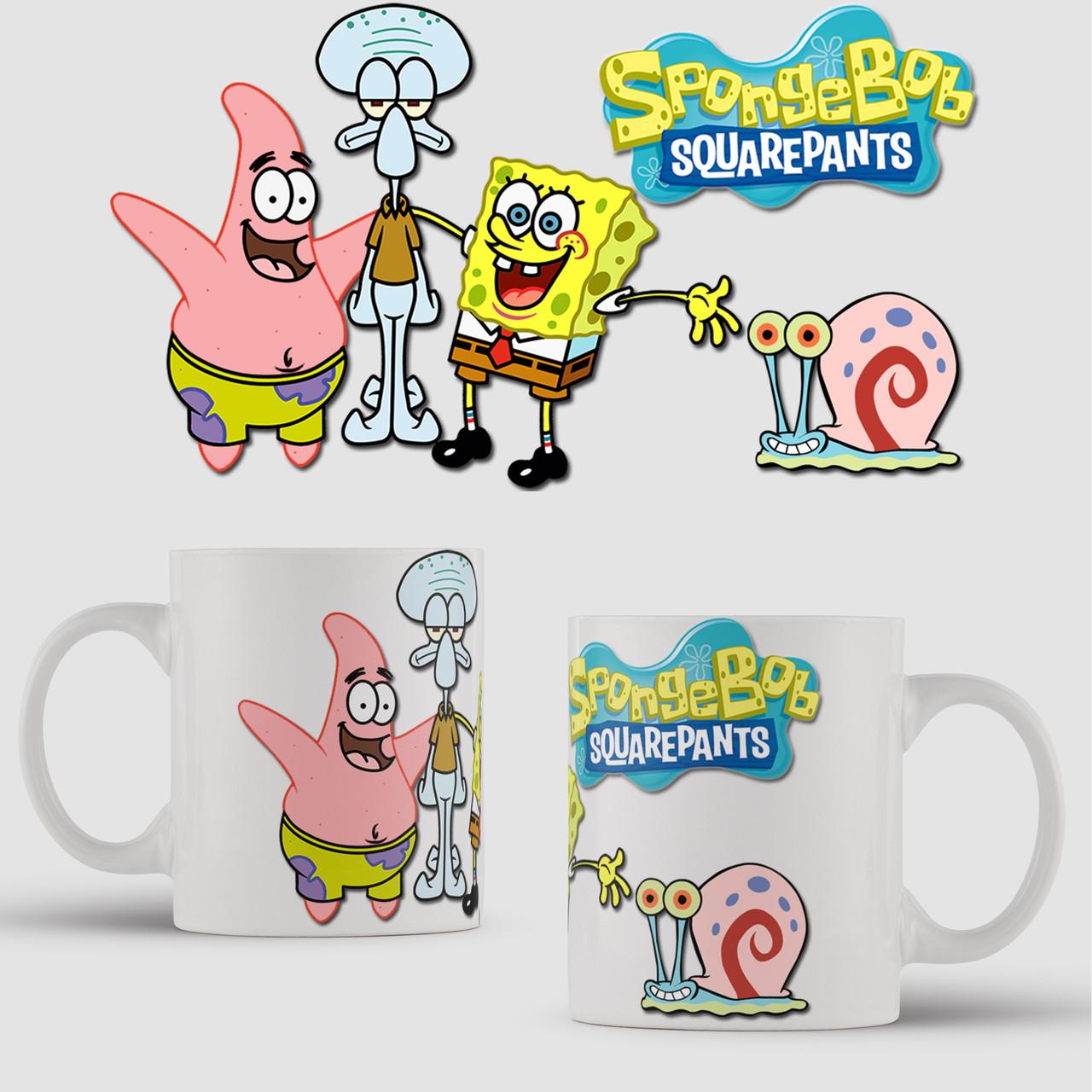 Кружка с принтом Губка Боб. Спанчбоб. Spongebob v11. Чашка с фото