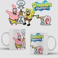 Кружка с принтом Губка Боб. Спанчбоб. Spongebob v11. Чашка с фото, фото 1