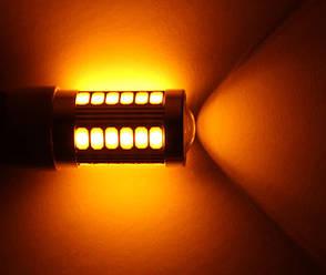 Светодиодная автолампа 1157 P21W BA15S 33 SMD желтый, фото 2
