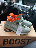 Чоловічі кросівки Adidas Yeezy Boost 350 V2 desert sage в стилі адідас ізі буст РЕФЛЕКТИВ (Репліка ААА+), фото 3