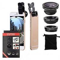 Universal clip lens Kit 3 in 1 ,набор линз,объективов для телефона ,смартфона