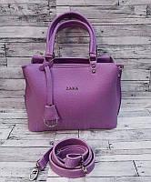 Женская сумка из экокожи Zara реплика Фиолетовая