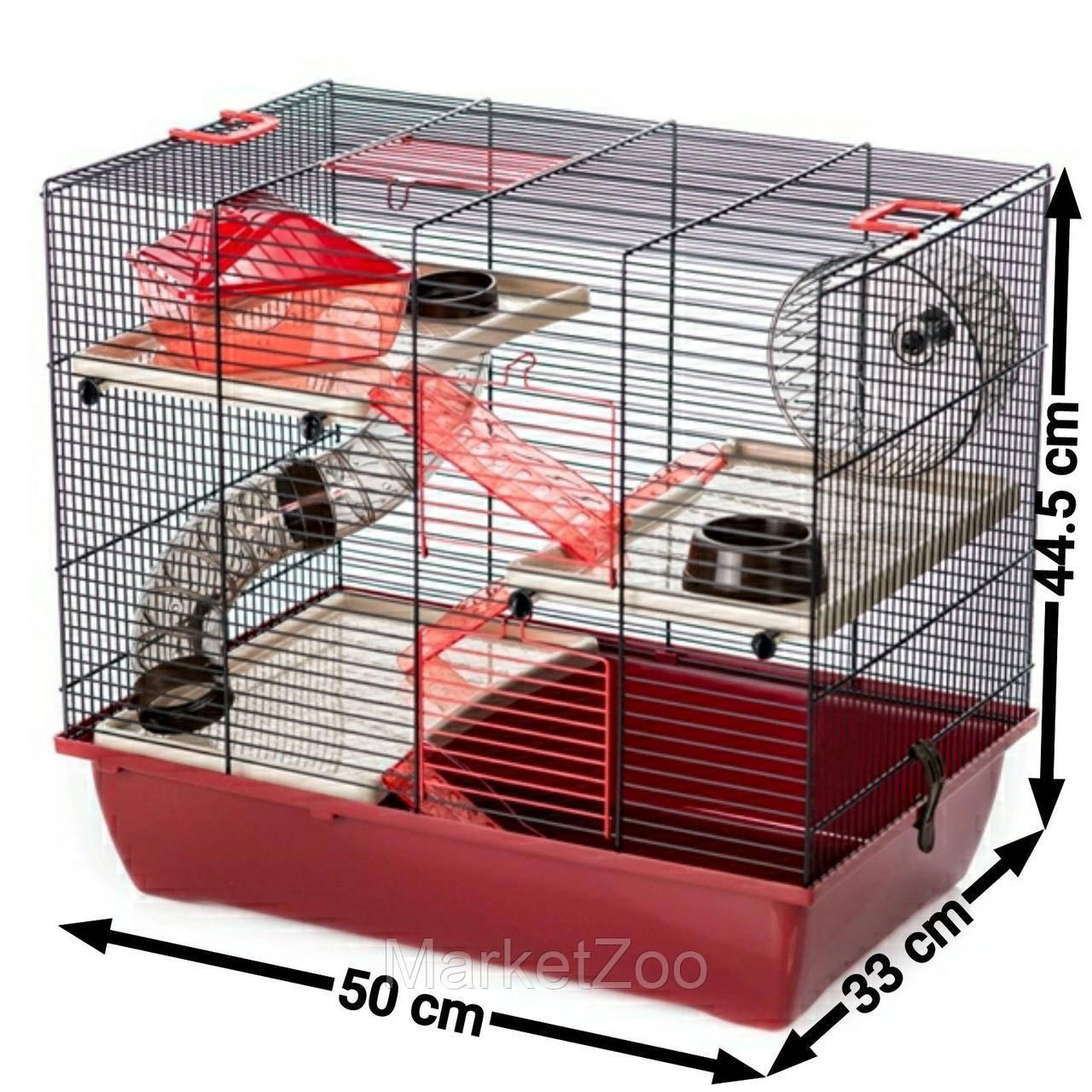 Клетка для хомяков с трубами PINKY 3 COLOR Inter Zoo G305 (500*330*445 мм)