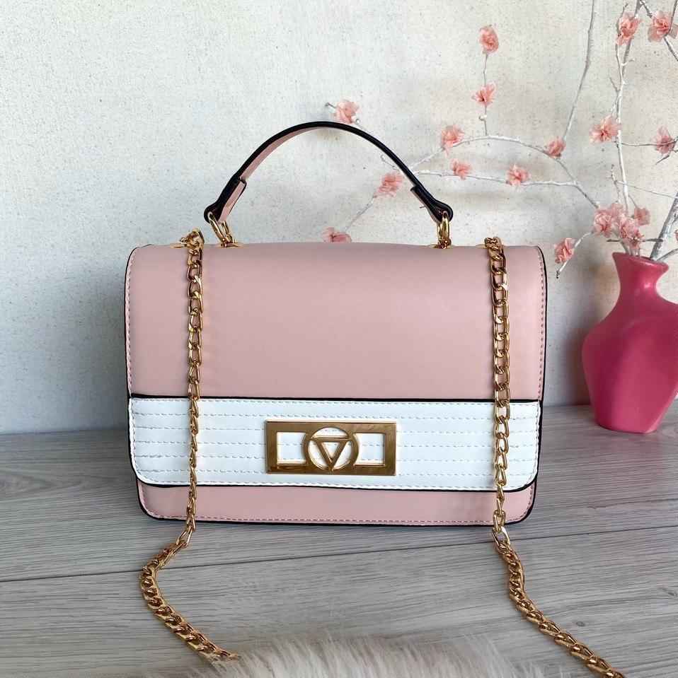 Сумочка клатч Луи на цепочке розовая с белым
