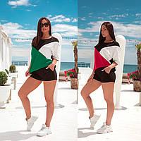 Женский летний спортивный прогулочный костюм черный красный желтый мятный большого размера 48-50 52-54