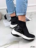 Женские кроссовки на массивной белой подошве, высокие текстильные с сеточкой, черные, фото 2