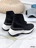 Женские кроссовки на массивной белой подошве, высокие текстильные с сеточкой, черные, фото 3