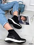 Женские кроссовки на массивной белой подошве, высокие текстильные с сеточкой, черные, фото 6