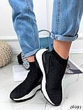 Женские кроссовки на массивной белой подошве, высокие текстильные с сеточкой, черные, фото 5