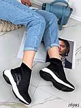 Женские кроссовки на массивной белой подошве, высокие текстильные с сеточкой, черные, фото 7