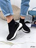 Женские кроссовки на массивной белой подошве, высокие текстильные с сеточкой, черные, фото 4
