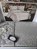Жаккардовое турецкое покрывало с наволочками 240*260 Miss Bella Antik серый, фото 2